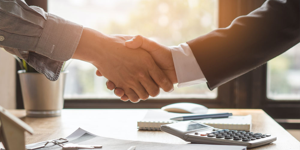 shake hands with clients